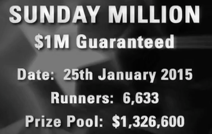 Sunday Million 25 January 2015